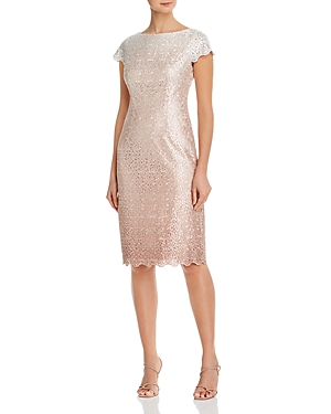 Eliza J Glitter Lace Sheath Cocktail Dress-Women