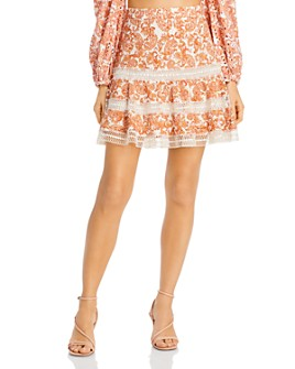 Bardot - Embroidered Eyelet Paisley Mini Skirt