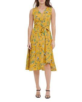 Calvin Klein - Floral Print Tie-Waist Dress