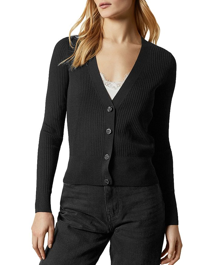 Ted Baker Raeyaa Ribbed Button-down Cardigan In Black