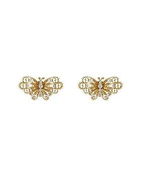 Gucci - 18K Yellow Gold Le Marche des Merveilles Diamond Butterfly Stud Earrings