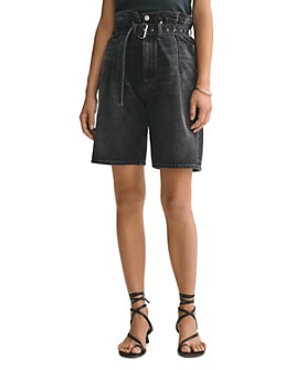 AGOLDE - Cotton Belted Denim Shorts in Pave