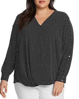 VINCE CAMUTO Plus - Textured Fragment Printed Top