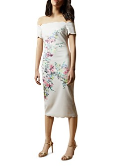 Ted Baker - Trixiiy Off-the-Shoulder Scalloped Bodycon Dress