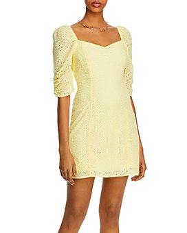 AQUA - Puff-Sleeve Eyelet Mini Dress - 100% Exclusive