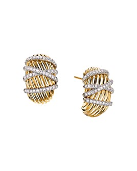 David Yurman - Helena Shrimp Earrings in 18K Yellow Gold with Diamonds