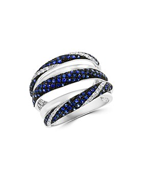 Bloomingdale's - Blue Sapphire & Diamond Crossover Statement Ring in 14k White Gold - 100% Exclusive