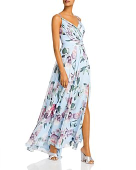 AQUA - Pleated Floral-Print Gown - 100% Exclusive