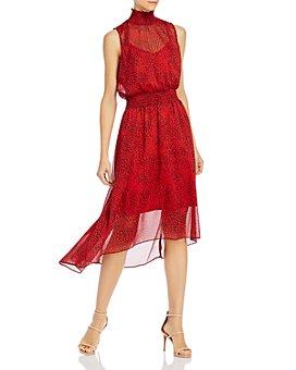 nanette Nanette Lepore - Cat-Print Smocked-Waist Dress