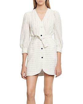Sandro - Misa Striped Mini Shirt Dress