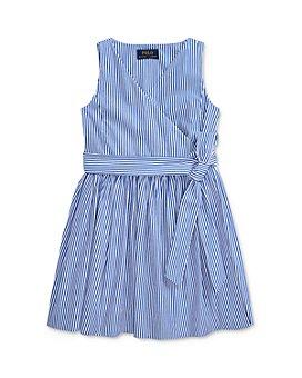 Ralph Lauren - Girls' Cotton Striped Wrap Dress - Little Kid