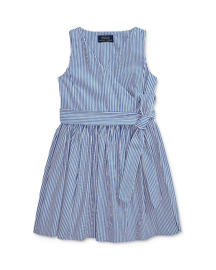 Ralph Lauren POLO RALPH LAUREN GIRLS' COTTON STRIPED WRAP DRESS - LITTLE KID