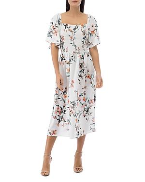 Mathilde Smocked Flutter-Sleeve Dress