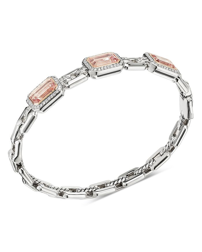 David Yurman - Novella Three-Stone Bracelet with Gemstones and Pavé Diamonds
