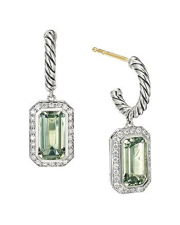 David Yurman - Sterling Silver Novella Drop Earrings with Prasiolite and Pavé Diamonds