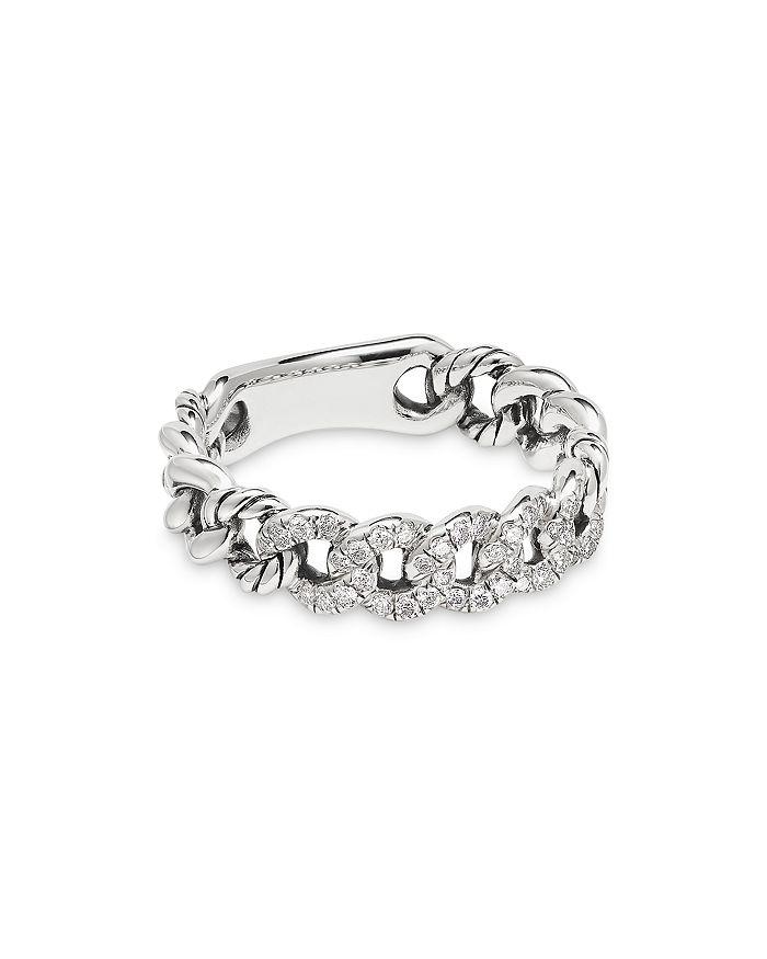 David Yurman - Belmont Curb Link Narrow Ring with Pavé Diamonds