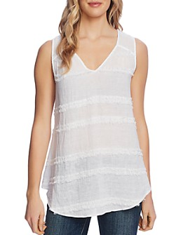 VINCE CAMUTO - Sleeveless Eyelash-Trim Top