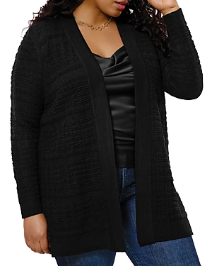 Textured-Stitch Open-Front Cardigan
