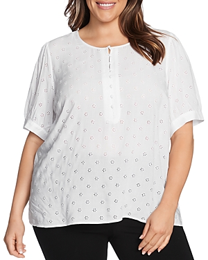 Vince Camuto Plus Elbow-Sleeve Eyelet Top