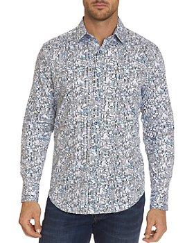 Robert Graham - Elis Cotton Stretch Gradient Stripe Abstract-Print Classic Fit Button-Down Shirt