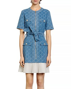 Sandro - Kayle Denim Pleated-Skirt Mini Dress