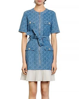 Sandro - Kayle Denim Pleated-Skirt Mini Dress