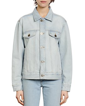 Sandro - Iria Floral-Lined Denim Jacket