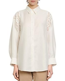 Sandro - Loyan Lace-Trim Shirt