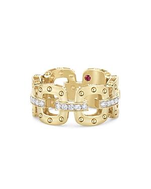 Roberto Coin 18K Yellow & White Gold Pois Moi Diamond Chain Link Statement Ring