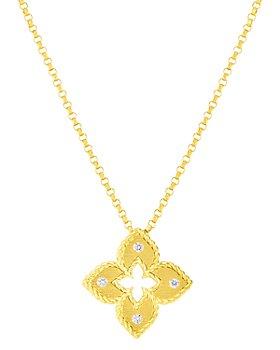 "Roberto Coin - 18K Venetian Princess Diamond Flower Pendant Necklace, 16-18"""