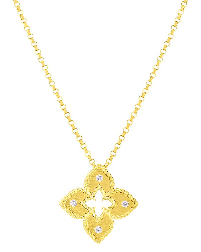 Roberto Coin - 18K Yellow Gold Venetian Princess Diamond Flower Pendant Necklace, 16-18""