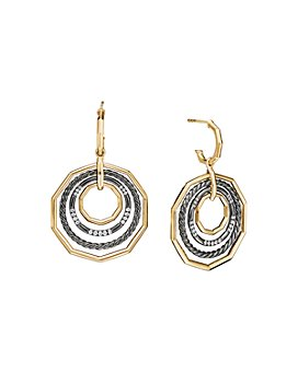 David Yurman - Stax Large Drop Earrings in Blackened Silver with Diamonds