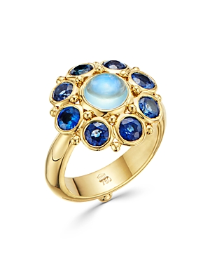 Temple St. Clair 18K YELLOW GOLD BLUE MOONSTONE & BLUE SAPPHIRE STATEMENT RING