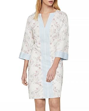 Contrast Trim Floral Print Tunic Dress