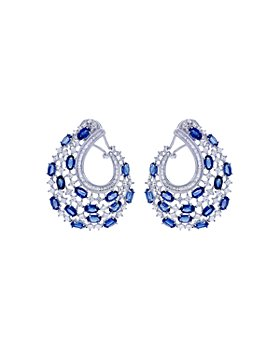 Bloomingdale's - Blue Sapphire & Diamond Front to Back Earrings in 14k White Gold - 100% Exclusive
