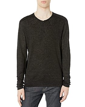 John Varvatos Collection - Linen Textured Stitch Regular Fit Henley