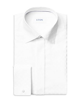 Eton - Cotton Satin Chessboard Check Contemporary Fit Dress Shirt