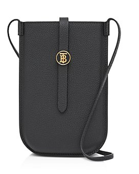 Burberry - Grainy Leather Phone Case with Crossbody Strap