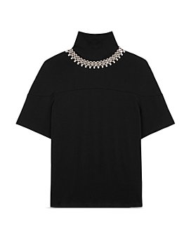 CHRISTOPHER KANE - Cotton Embellished Turtleneck Top