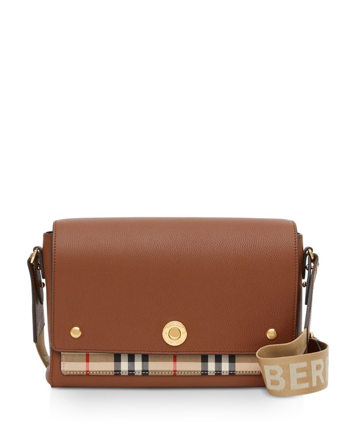 Burberry Leather & Vintage Check Note Crossbody   | Bloomingdale's