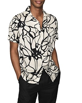 REISS - Griffin Abstract Floral Print Regular Fit Button Down Shirt