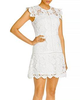 AQUA - Lace Flounce Hem Mini Dress - 100% Exclusive