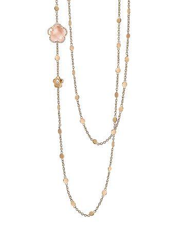 "Pasquale Bruni - 18K Rose Gold Bon Ton Floral Rose Quartz & Diamond Necklace, 40"""