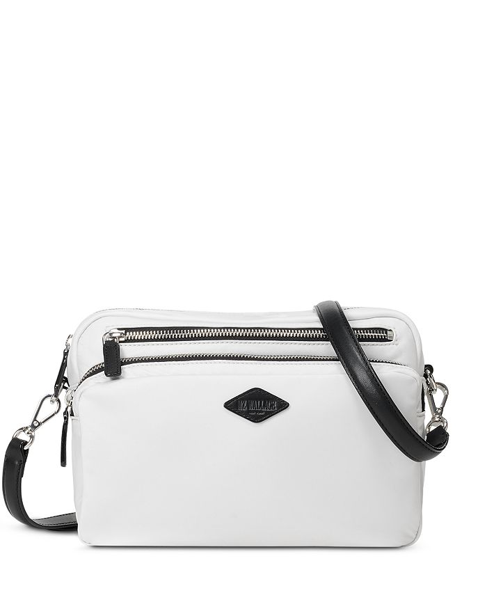 Mz Wallace Gramercy Mini Black Crossbody In Bright White/silver