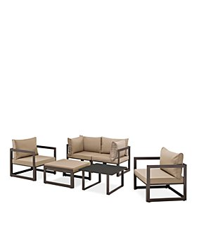 Modway - Fortuna 6 Piece Outdoor Patio Modualr Sectional Sofa Set with Ottoman and Pair of Armchairs