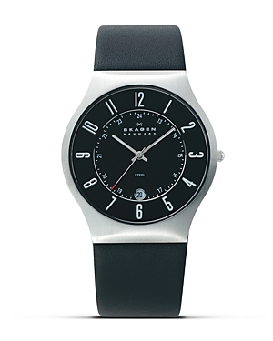 Skagen Steel and Black Leather Watch, 37mm