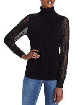 C by Bloomingdale's - Lace Sleeve Cashmere Turtleneck Sweater - 100% Exclusive