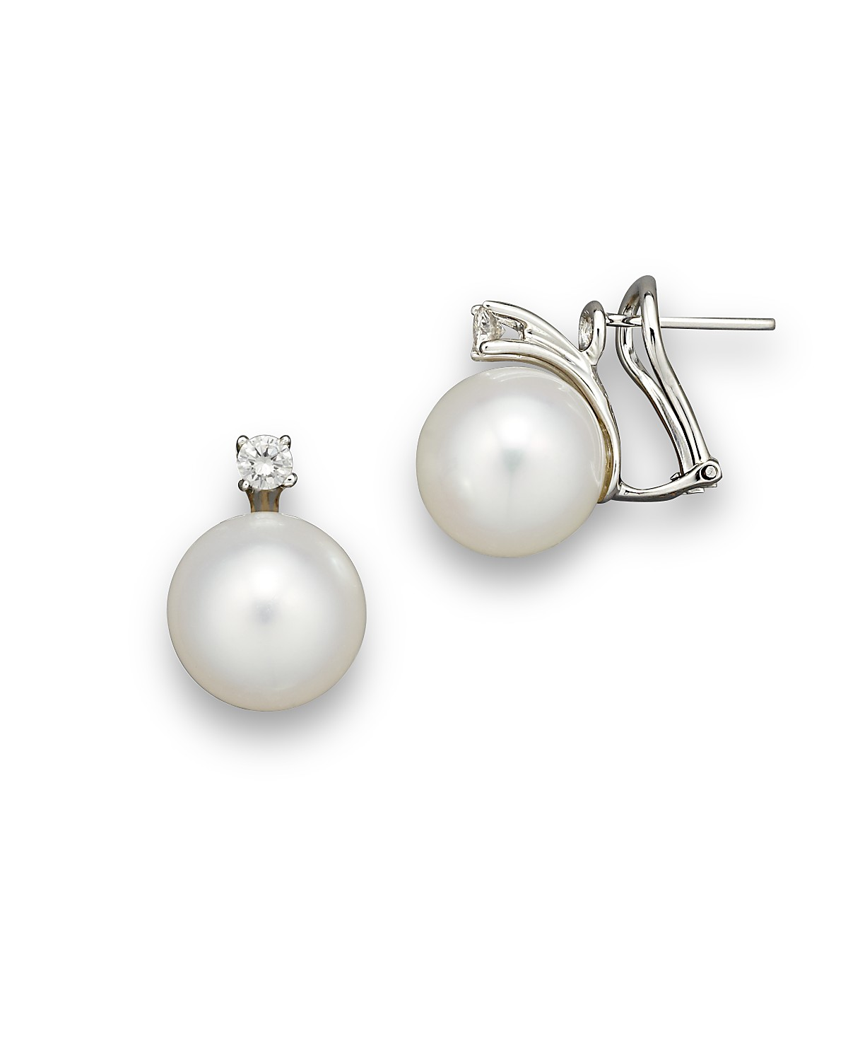 south pearl earrings stud sea white