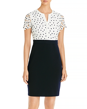 Karl Lagerfeld Paris Eyelet Bodice Sheath Dress-Women