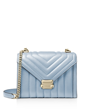 Michael Michael Kors Whitney Large Quilted Leather Shoulder Bag In Pale Blue